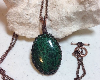 Green and Black Vintage Stone Pendant Wrapped in Antique Copper Wire 2.25 Inches Long on Antique Copper 27.5 Inch Chain, One of a Kind