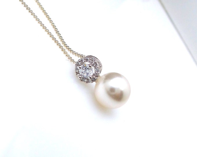 wedding jewelry bridal necklace prom bridesmaid party white or cream 8mm swarovski round pearl drop necklace with sterling silver chain