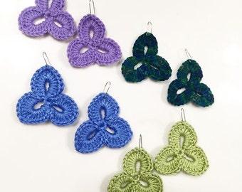 Large Earrings Crochet Clover