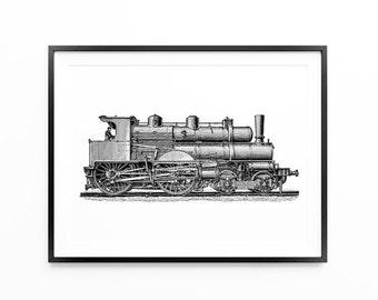 Old Locomotive Print , Locomotive Poster , For Men, Vintage, Wall Art, Large Wall Art, Oversized Art