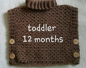 Crochet Poncho Sweater Toddler Girls