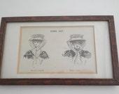 Vintage Framed 19th Century Comic Costume Print - Millinery - Europe