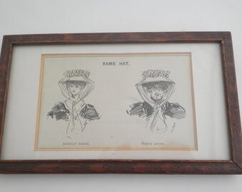 Vintage Framed 19th Century Comic Costume Print - Millinery - Europe