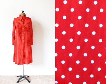 vintage dress 70s red white polka dot shirt 1970's womens clothing size medium m