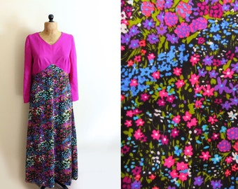 vintage dress maxi 70s fuchsia pink floral print retro 1970s womens clothing size l xl extra large 14 16