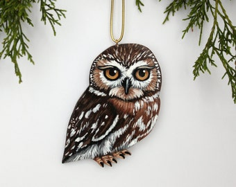 Christmas Owl Ornament - Handmade Wood Owlet Holiday Decoration - Baby Owl Ornament  - Hand Painted Rustic Woodland Owl Decor