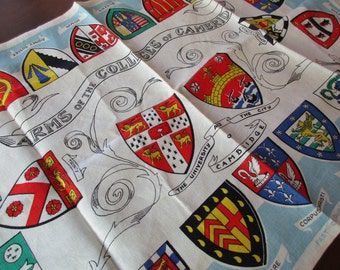 vintage linen dish towel- Arms of the Colleges of Cambridge, made in Ireland