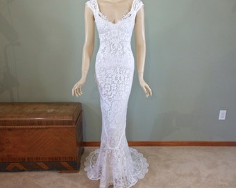 White MERMAID Lace Wedding Dress Boho Wedding Dress Vintage Inspired Wedding Dress Cap Sleeve BOHEMIAN Wedding Dress Sz Small