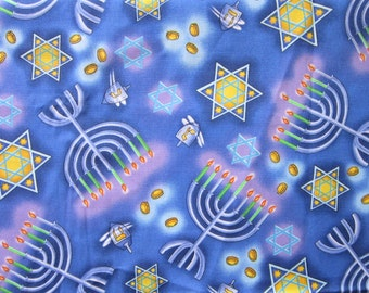 2 yards fabric - Chanukah, Hannukah, menorah fabric, star of David - Jewish holiday