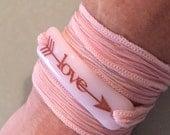 Love, Personalized Bracelet fused glass wrap bracelet on hand dyed silk ribbon