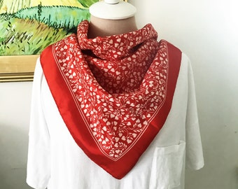Vintage Mary Ann Scarf - Red With White Hearts. 1970s Faux Silk Valentines Day Gifts For Her Romantic Classic Style Gifts Under 20