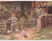Artist Signed Raphael Tuck Oilette - Feeding the Ducks - Antique Postcard - English, Enland, Children, Ducks, Paintings, Paper, Ephemera