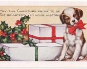 Whitney Made Antique Christmas Postcard - Christmas, Christmas Cards, Christmas Postcards, Whitney, Whitney Made, Dogs, Puppies, Ephemera