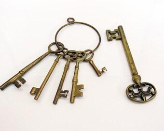 Collection Large Brass Decorative Skeleton Keys Fleur De Lis Oversized MCM Decor
