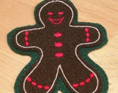 embroidered ginger bread man tree ornament