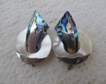 Vintage MOP Abalone and Silver Metal Overlay Pierced Earrings