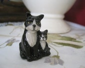 Wade Pair Wade Black and White Cats Mother and Her Baby Kittens Kitties Whimsies Red Rose Tea Figures Wade Pottery