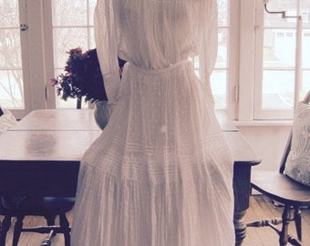Vintage Summer White Dottded Swiss Cotton Two Piece Gibson Girl Skirt and Blouse Wedding...Bridal Wear...