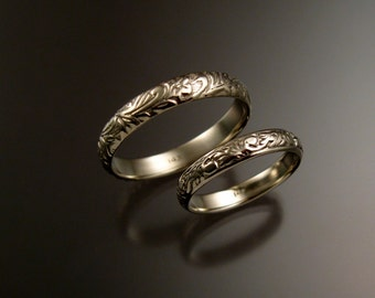 14k white Gold Floral pattern Band His and Her's wedding set made to order in your size Victorian two ring wedding bands