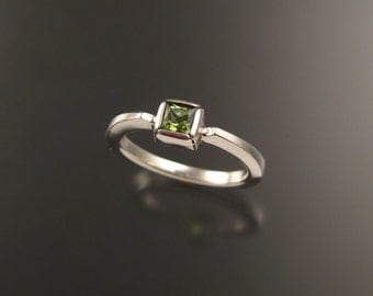 Natural Peridot square stone stackable ring Sterling Silver handmade to order in your size