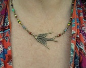 Antique Brass flying bird Pendant Necklace with mixed Czech glass beaded chain