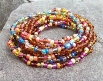 Stretch Stack Beaded Festival Bracelets, Colorful beaded bracelets, Boho, Hippie, 9 Stack bracelet set