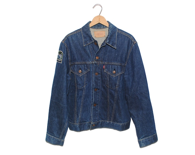 Vintage Levi's Big E Dark Blue Denim Jean Jacket Made in USA - Large (OS-DJ-4)