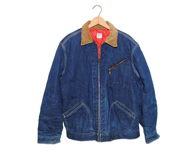 Vintage LEE Union Made 191-LB Dark Blue Denim Blanket Lined Chore Coat Jean Jacket Made in USA - Large