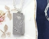 Vintage Sterling Silver Ingot Pendant Necklace, 1982 Bullion Bar with Single Rose Layering Necklace - Bloom and Grow