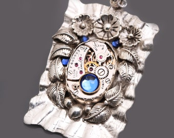 Sterling Silver Steampunk Necklace Steampunk Pendant Wedding Necklace Bridal Jewelry
