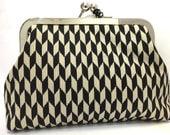 clutch purse - arrow - 6 inch metal frame clutch purse- medium purse- black - cream - coffee  - kiss lock clutch