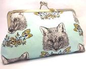 clutch purse - foxy loxy - 8 inch metal frame clutch purse - large purse- fox- foxy- light blue - clutch- purse - kisslock