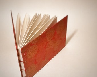 red with gold mums coptic bound wedding guest book - blank wedding guestbook - small wedding guest book - hand bound wedding guest book