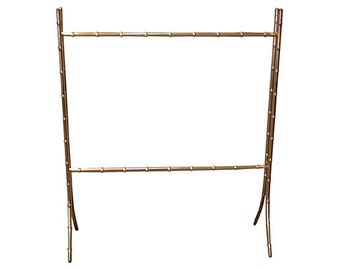 Brass Faux-Bamboo Blanket or Towel Rack