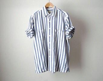 90s nirvana STRIPED color block DENIM short sleeve shirt