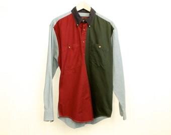 vintage KRISS KROSS normcore Color BLOCK button down oxford shirt