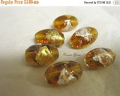 30% OFF SALE Handmade Gold Brown Lampwork Glass Oval Beads 10mmx16mm, 6 pieces