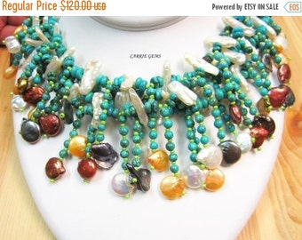 20% OFF ON SALE 4-Stand Howlite with Freshwater Pearl Necklace