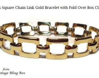 60's Gold Box Square Chain Link Bracelet in Open Metalwork Design and Fold Over Box Clasp - Vintage 60s Metal Costume Jewelry