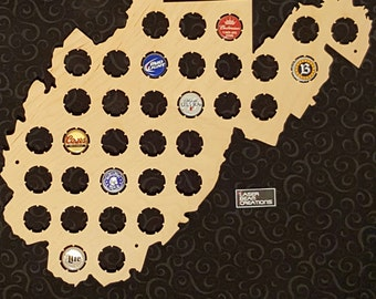 West Virginia Shaped Beer Cap Map -- Holds 34 Bottle Caps -- Perfect for your favorite beer lover -- Made in the USA