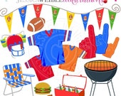 SALE Tailgate Party Clipart - Commercial Use OK - Football Graphics, Football Clipart - Football Jersey - Cookout