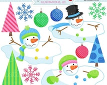 ON SALE Melting Snowmen Cute Digital Christmas Clipart - Commercial Use OK - Christmas Graphics - Melted Snowman Clipart