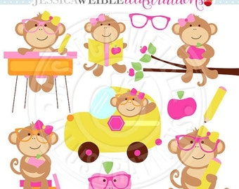 SALE Classroom Girl Monkeys Cute Digital Clipart - Commercial Use OK - Monkey School Clip Art - Classroom School Graphics