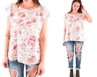 SWEET ROSE 80s Rad Denim Floral Flower Rose Print Cap Sleeve Slouchy Cotton Jean Top Blouse Shirt Medium M