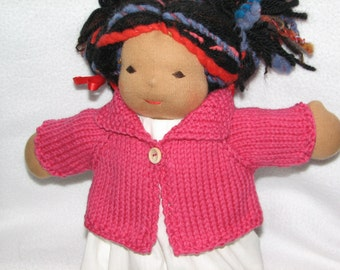 Doll Clothes - Sweater for 13 inch Doll in Deep Pink Wool RTG