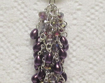 """Key Chain 5 1/2"""" with Purple AB Crystals and Purple Teardrop Glass Pearls"""