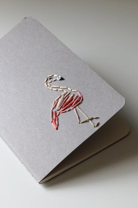 Flamingo- hand embroidered moleskine pocket notebook