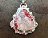 RESERVED for Lakshmi   Crazy Lace Agate and Garnet Cabochon Sterling Silver Metalwork Necklace Pendant