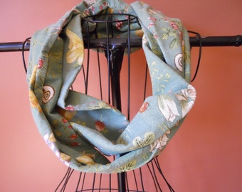 Fabric Infinity Scarf in Green Flowers and Bugs Nature