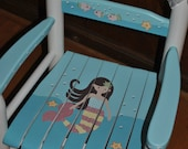 New For 2016-Children's - Custom Hand Painted-Mermaid-Brunette -Girls Rocking Chair-Baby Shower Gift-Nursery Furniture-Child Chair-Baby Gift